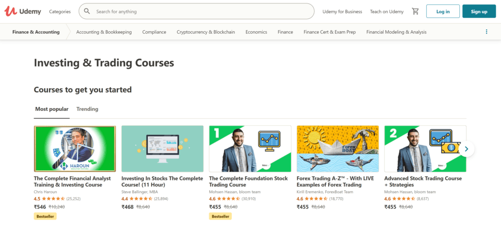 Stock trading courses- Udemy prices