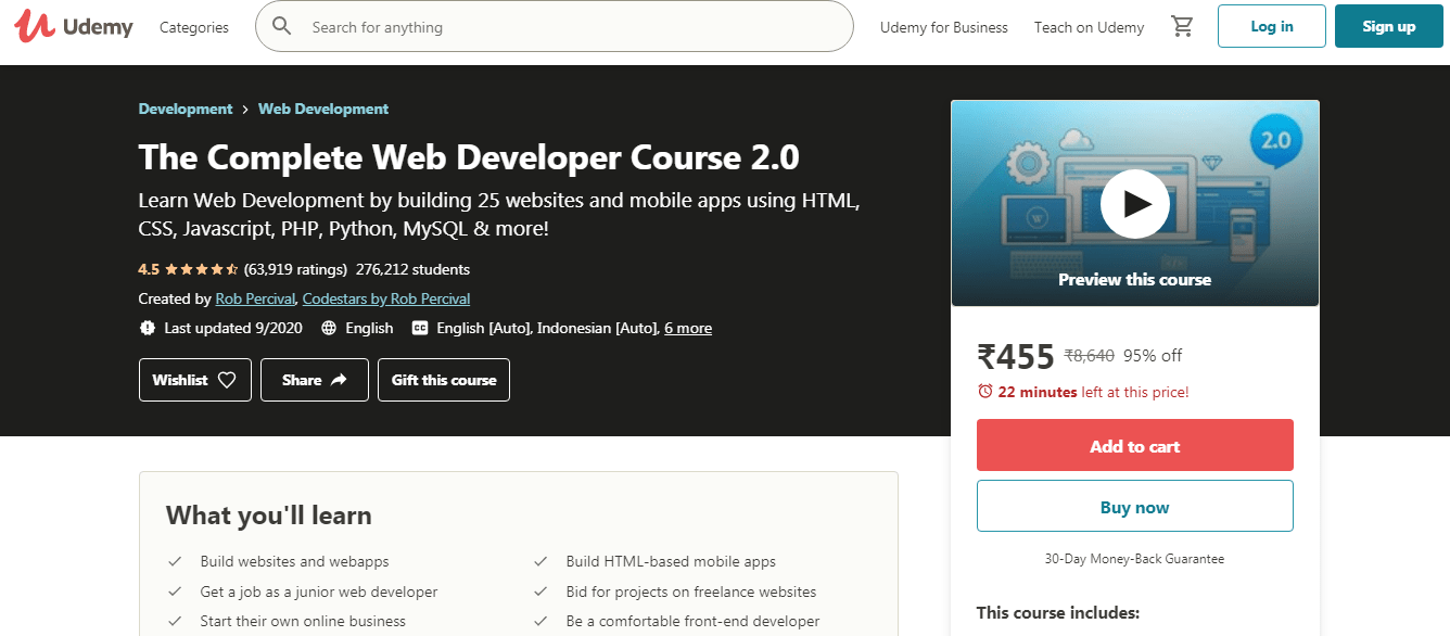 Best Udemy Courses - Web Developer
