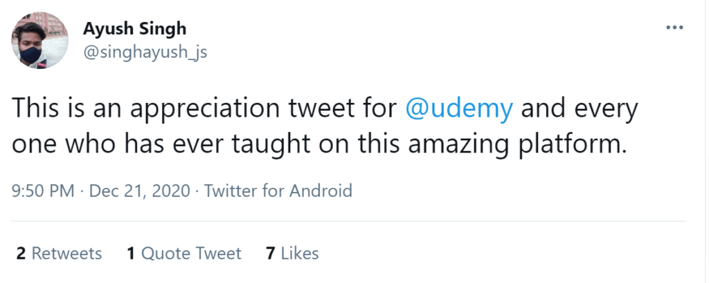 Udemy reviews on twitter