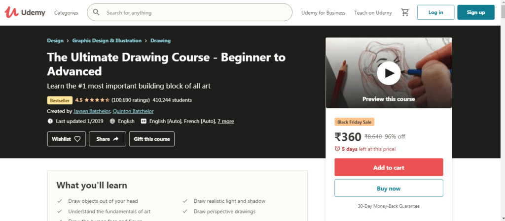 Ultimate Drawing Course- udemy courses on resume