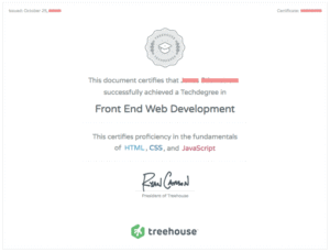 Treehouse certifications